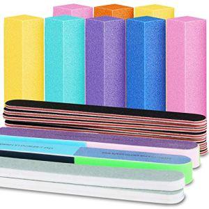 Nail Files and Buffers, FANDAMEI 20PCS Professional Manicure Tools Kit. Rectangular Nail Buffer Block & 100/180 Grit… 49
