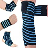Knee Support Compression Bandage Brace for Legs, Plantar Fasciitis, Stabilising Ligaments, Joint Pain, Squat, Basketball, Running, Tennis, Soccer, Football, Black