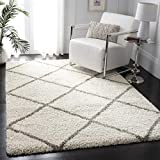 Safavieh Hudson Shag Collection SGH281A 2-inch Thick Diamond Trellis Area Rug, 3' x 5', Ivory/Grey