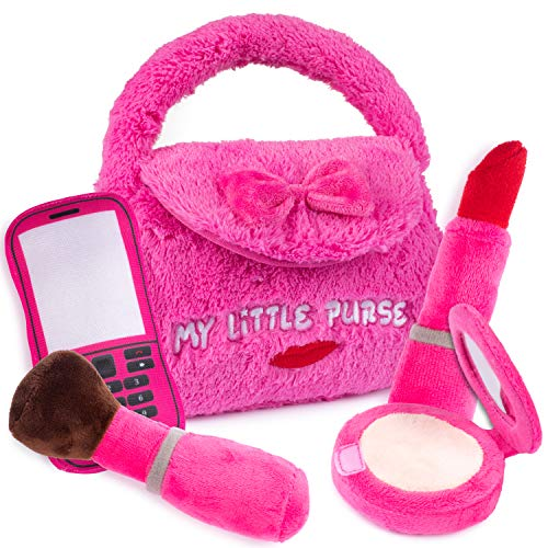 """51oKjt2IBHL 👜 WHAT'S INCLUDED: Plush Creations brings you a new super cute and fluffy playset, """"My First Purse."""" Our 5 piece beautifully designed fluffy, hot pink plush handbag set comes with 4 unique pretend play plush toys that talk and say what they are. It includes a small mirror, a makeup brush, a red lipstick, and a cellphone. Perfect for an infant and/or toddler fashionistas to play and carry. Surprise your sweet little princess with her 1st real handbag today! 👜 INTERACTIVE & EDUCATIONAL: Inspire young, growing minds with our adorable and adventure-ready handbag. Have your kid squeeze or hug these super-soft plush toys to hear them speak! Each accessory introduces itself and then says a fun fact! Turn playtime into a learning moment, promote fine motor skills, engage them in creative, pretend, and imaginative play! Encourages role-play, which helps children develop social skills by imitating grown-ups & inventing their roles. 👜 SIZE: These huggable plush stuffed toys are lightweight and easy to hold/carry. It's the perfect size for your infant or toddler to carry indoors or take along on trips and playdates. The bag measures 8 by 9 inches. Your child will love to play with this fancy and bright purse set. This adorable set is perfect for your kid's, birthday parties, classroom rewards, and carnival prizes! It's an ideal holiday gift, party supply, and Christmas present for plush toy lovers."""