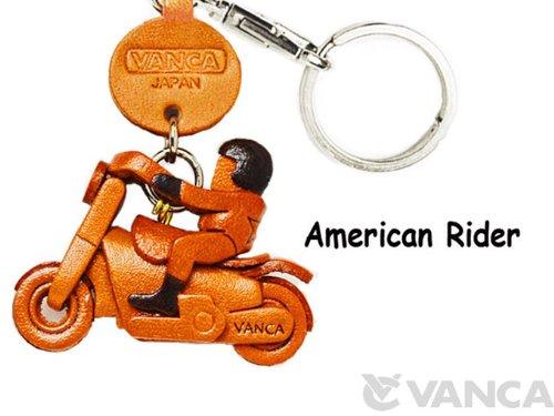 アメリカンライダー 本革製 バイク キーホルダー バンカクラフト革物語 (日本製 ハンドメイド)