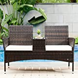 HONBAY Patio Furniture Set PE Weaving Wicker Rattan Chairs Set Patio Conversation Set Outdoor Loveseat with Built-in Table for Garden (Beige)