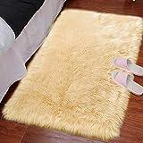 LOCHAS Ultra Soft Fluffy Rugs Faux Fur Sheepskin Area Rug for Bedroom Bedside Living Room Carpet Nursery Washable Floor Mat, 2x3 Feet Gold Yellow