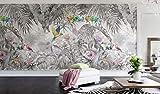 A-Gavvzq Papier Peint Panoramique Jungle Soie, 350 x 250 cm, Poster Geant Mural Personnalisé 3D pour Salon Chambre Décoration Murale, Forêt Tropicale Perroquet Dos De Tortue Bambou Palmier Quitte