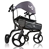 Hugo Mobility Explore Side-Fold Rollator Walker with Seat, Backrest and Folding Basket, Pearl Blk