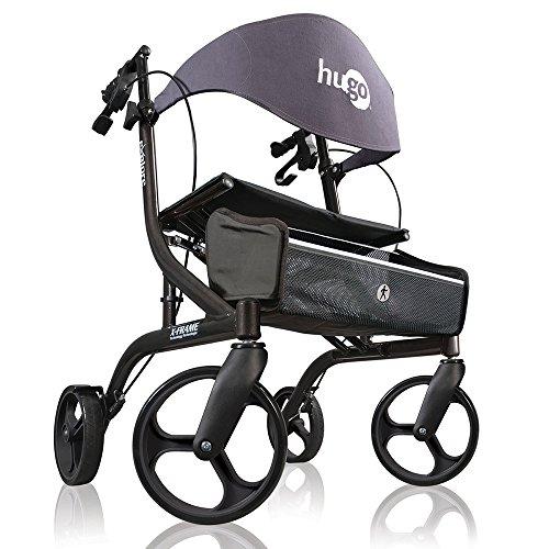 Hugo Mobility Explore Side-Fold Rollator Walker with Seat, Backrest and Folding Basket, Pearl Blk
