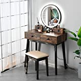 FREDEES Vanity Table Set, Makeup Table with 3-Color Touch Screen Mirror&Stool, Bedroom Wood Dressing Table with 4 Storage Drawers(Wood)