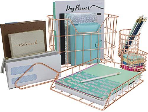 Sorbus Desk Organizer Set, Rose Gold 5-Piece Desk Accessories Set...
