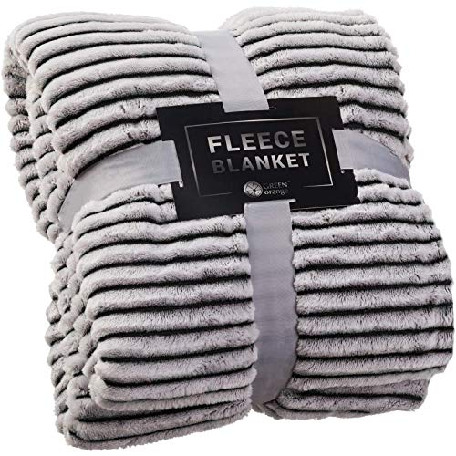 GREEN ORANGE Fleece Blanket King Size – 108x90, Black and White – Soft, Plush, Fluffy, Warm, Cozy – Perfect Throw for Couch, Bed, Sofa