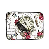 Mac Pro Cover Black Crow Red Rose and Vintage Clock Feather Macbook Pro Cover Multi-Color & Size Choices 10/12/13/15/17 Inch Computer Tablet Briefcase Carrying Bag
