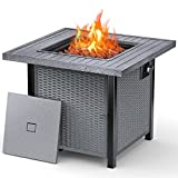 Propane Fire Pit, Outdoor Silver Fire Pit Table with Lid, 28 Inch 50000 BTU Auto-Ignition Gas Fire Pit Table with External Igniter & ETL Certification, 2-in-1 Firepit Table for Courtyard/Patio/Balcony