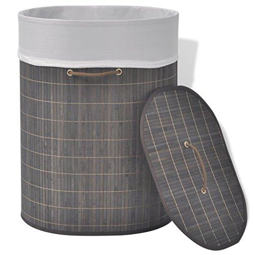 Festnight Bambus Wäschekorb Wäschesammler Wäschebox Oval Wäschekörbchen mit Wäschesack Dunkelbraun 45x35x60cm