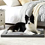 Western Home Dog Bed for Crate, High Resilience Foam Dog Crate Mat Kennel Pad with Soft Wavy Plush, Anti-Slip Washable Mattress for Large Medium Small Dogs & Cats, Grey, 36 Inches
