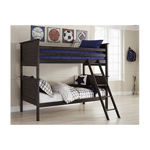 Ashley Furniture Signature Design - Jaysom Youth Bunk Bed with Ladder & Roll Slats - Twin Size Beds - Black
