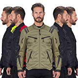 Viking Cycle Ironborn Protective Textile Motorcycle Jacket for Men - Waterproof, Breathable, CE Approved Armor for Bikers (Military Green, 3XL)