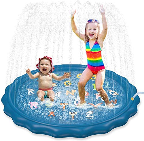 "Jasonwell Sprinkler for Kids Toddlers Splash Pad Play Mat 60"" Inflatable Baby Wading Pool Fun Summer Outdoor Water Toys for Children Boys Girls Sprinkler Pool for Alphabet Learning Age 1 2 3 4 5 6 7 8"