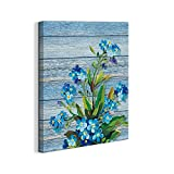 Canvas Wall Art for bedroom hallways bathroom farmhouse Wall Decor Canvas Prints Artwork watercolor painting Blue flowers wall pictures 16\