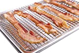 Prodigal Chef Bacon Rack for Oven Nonstick - BONUS Recipe Book - BETTER Baking, Roasting, Cooking & Grilling - 13 x 9.5 x 1 inches - Aluminum Quarter 1/4 Sheet Pan with Stainless Steel Wire Rack Set