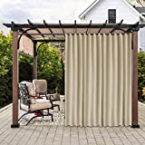 LUSHLEAF Indoor/Outdoor Curtains for Patio, Beige, 100 x 84 inch - Thermal Insulated, UV Sun Light Blocking Waterproof Tap Top Blackout Curtains for Bedroom/Living Room, Porch, Cabana, 1 Panel