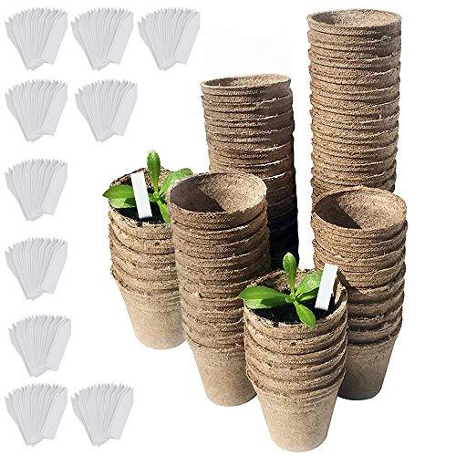 DECARETA 100 Pezzi Vasi Biodegradabili Vasetti di Torba con 100 Pezzi Etichette Vasi Tondi in Fibra 8 cm Vasetti in Fibra Biodegradabili per Piantine/Semi/Fiori/Giardinieri/Botanici