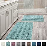 Non Slip Thick Shaggy Chenille Bathroom Rugs, Bath Mats for Bathroom Extra Soft and Absorbent - Striped Bath Rugs Set for Indoor/Kitchen (Set of 2-20' x 32'/17' x 24') Eggshell Blue