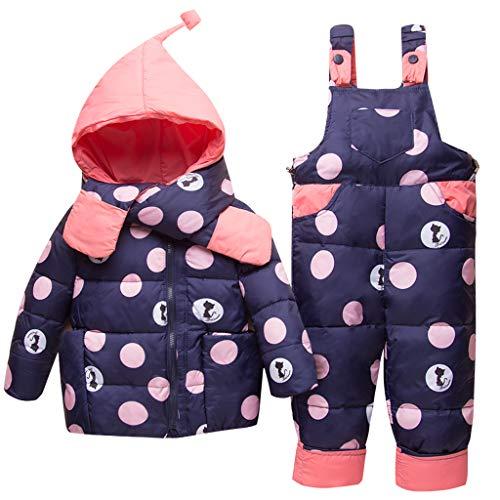 Vimukun Tute da Neve Bambino Inverno 3 Pezzi Tutone Cappuccio Piumino + Pantaloni e Salopette da...