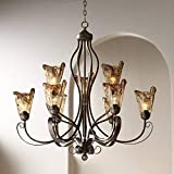 Amber Scroll Golden Bronze Silver Large Chandelier 35 1/2' Wide Rustic Art Glass 9-Light Fixture for Dining Room House Foyer Entryway Kitchen Bedroom Living Room High Ceilings - Franklin Iron Works