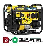 Champion Power Equipment 100574 4000-Watt RV Ready Digital Hybrid Inverter Generator, with Dual Fuel Technology, Black and Yellow