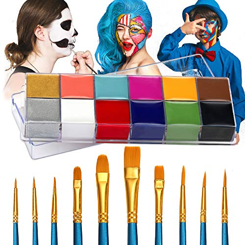 Wismee Face Body Paint Makeup Palette Professional 12 Colors Halloween Face Paint Kit Body Art Party Fancy Make Up with 10 Brushes Cosplay Makeup Set