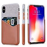 Lopie Cover iPhone X, [Sea Island Cotton Series] Custodia iPhone X 2017 [Tessuto e Vera Pelle] [Porta Carta di Credito] Wallet Shell per iPhone X / 10 -...