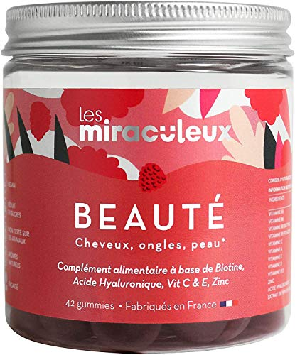Complément Alimentaire Beauté - Gummies Pousse Cheveux - Arôme Naturel et Végan - 42 Gommes de Fruit - Vitamine Cheveux, Ongles et Peau - Avec de la Biotine - Goût Framboise - Les Miraculeux