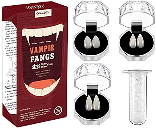 COOLJOY 3 Sizes Vampire Fangs Teeth with Adhesive Halloween Party Cosplay Props White Horror False Teeth Props Party Favors Dress Up Accessories