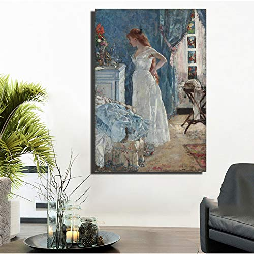SADHAF Bella ragazza pittura a olio su tela, poster e stampe, riproduzioni di dipinti ad olio...