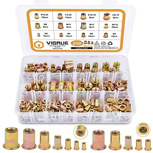 VIGRUE 230PCS SAE & Metric Rivet Nuts Carbon Steel UNC Nutserts Rivnut Assortment Kit, Zinc Plated, Flat Head Insert Nut Assort #8-32#10-24 1/4'-20 3/8'-16 5/16'-18 and M3 M4 M5 M6 M8 M10 M12