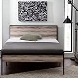 Edenbrook Carson Metal Platform Bed Framewith Wood Headboard and Footboard-Box Spring Optional, Twin, Weathered Gray
