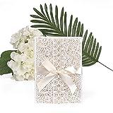 ewtshop Tarjetas de invitacin de boda Set, puede Tarjetas de felicitacin, sobres y lazo, 20unidades)
