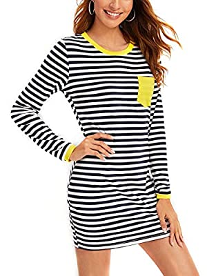 Material:65% Cotton 35% Polyster,Stretchy and soft material makes you feel good and comfortable when wearing. FEATURES: Stylish Striped Print; Pocket Patched ,Short Sleeve, Round Neck, Casual Summer Ringer Tee Dress. Perfect for party, cocktail, chur...