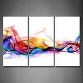 Fresco Mira Color Abstracto Fumar Vistoso Blanco FondoPintura de la Pintura de la Pared La impresión de la Imagen en la Lona Abstracto Fotos de la Obra para la 3 Panel