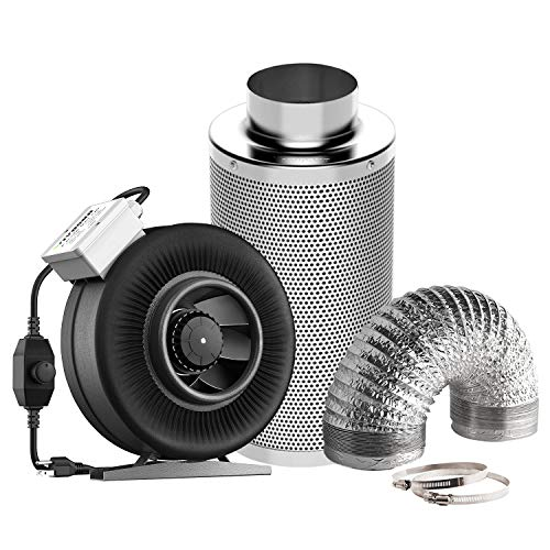 VIVOSUN 6 Inch 440 CFM Inline Fan with Speed Controller, 6 Inch Carbon Filter and 8 Feet of Ducting Combo for Grow Tent Ventilation