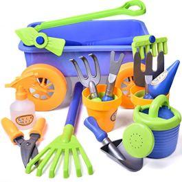 FUN LITTLE TOYS Kid's Garden Tool Toys Set, Beach Sand Toy, Kids Outdoor Toys, Gardening Backyard Tool Set Wagon Other Garden Tools- 16 PCs