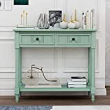 Wood Console Sofa Table with Drawer and Bottom Shelf, WeYoung Daisy Series Entryway Table for Living Room (Retro Blue)