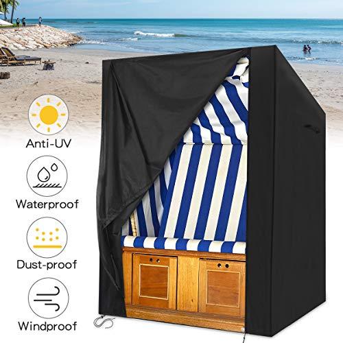 king do way Strandkorb Schutzhülle, 135x105x175/140cm Strandkorbhülle, Strandkorbabdeckung wasserdichte Schutzhülle, mit Klettverschluss für Strandkorb, Atmungsaktiv, Winterfeste (210D)