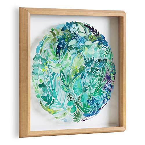 Kate and Laurel Blake CI Greenery Framed Printed Glass Wall...