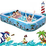 10 ft Inflatable Swimming Pool, Rectangular Above Ground Pool for Kids 3-10, Large Blow Up Kiddie Pool for Toddlers Backyard Outdoor Water Play, Full-Sized 120' X 72' X 22', 0.4mm Thicker