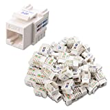 Cable Matters UL Listed 50-Pack Cat6 RJ45 Keystone Jack (Cat 6, Cat6 Keystone Jack) in White with Keystone Punch-Down Stand