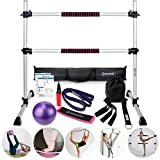 B BRANTON Ballet Barre Workout Equipment Bundle - 4' Height Adjustable Lightweight 5 Piece Home Dance Set Including Ballet Bar and Leg Stretcher - Ballet Exercise Set for Home Practice
