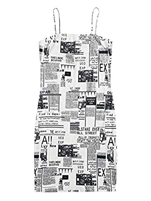 Features: newspaper print, spaghetti strap, sleeveless, bodycon Fabric has no stretch,but it's Soft and Comfortable Occasion: weekend casual, summer daily wear, holidays, office wear Bust Size: (X-Small) 30.3 inch; (Small) 31.9 inch; (Medium) 33.5 in...