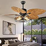 Industrial Cage Ceiling Fan with Light Tropical 5 Lights Remote Control Indoor Chandelier Fan Light Palm 5 Reversible Blades Vintage Quiet Fan Light, Black Finish, 52-Inch