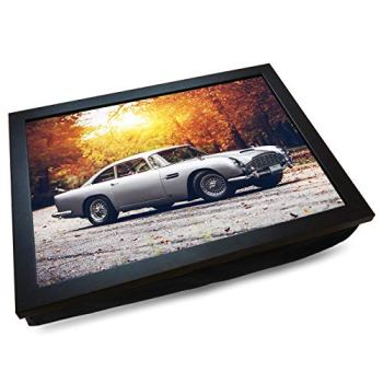 Deluxe Cushioned Lap Tray | Aston Martin DB5 James Bond Car | Wooden Frame | Bean Bag Cushion Base | #EK