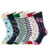 Men's Cotton Dress Socks Funny Sock - Fashion Colorful Patterned Crew Socks for Men-6 pack, Size 40-47,by Tutast